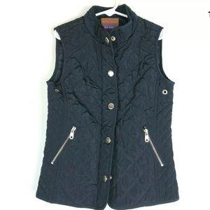Zara Girls L Navy Blue Quilted Vest Zipper Button